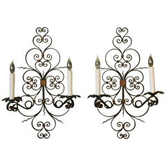 Pair of French Country Wrought Iron Sconces