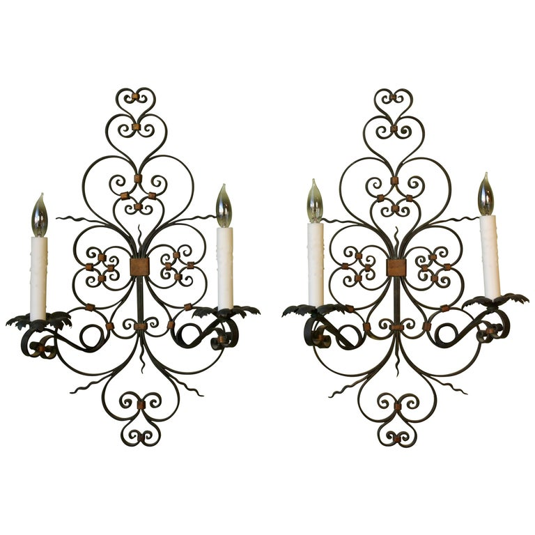 Pair of French Country Wrought Iron Sconces For Sale