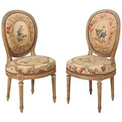 Paar französische cremefarbene Louis-XVI-Stühle von Georges Jacob, circa 1780