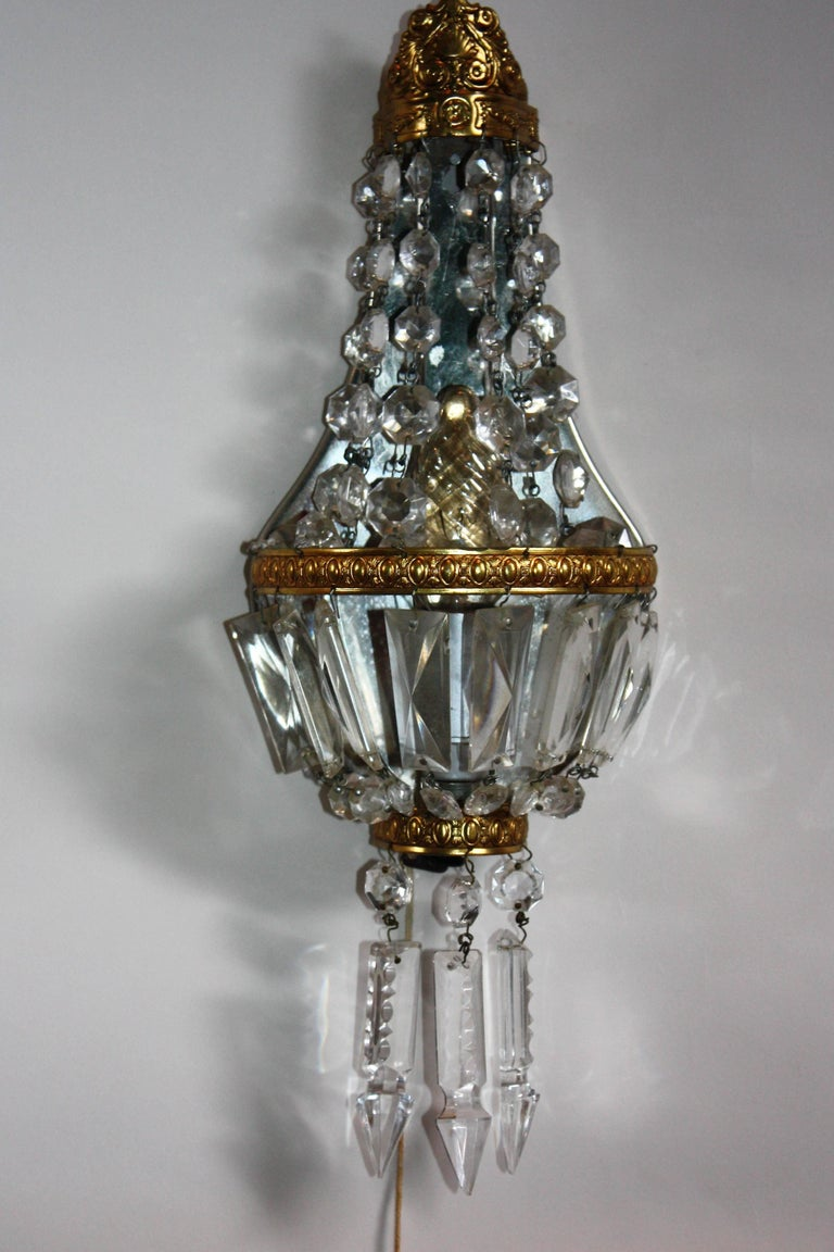 Baroque Pair of French Crystal and Brass Wall Sconces, circa 1930s For Sale