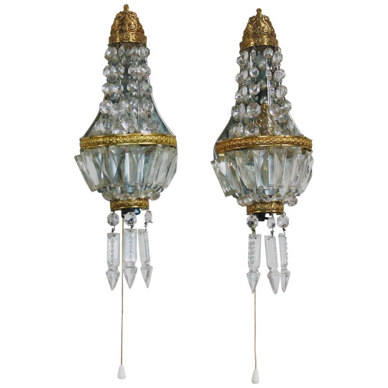 Pair of French Crystal and Brass Wall Sconces, circa 1930s For Sale