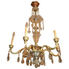 Pair of French Crystal and Gilt Bronze Chandeliers, Sold Individually