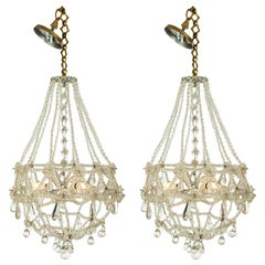 Pair of French Crystal Basket Chandeliers