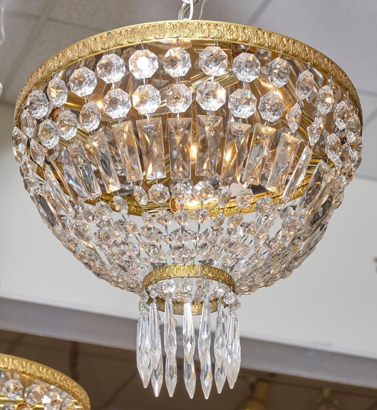 Art Deco Pair of French Crystal Chandelier Flush Mounts For Sale