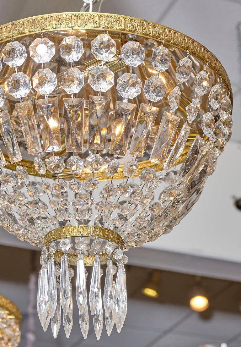 Pair of French Crystal Chandelier Flush Mounts In Excellent Condition For Sale In Austin, TX