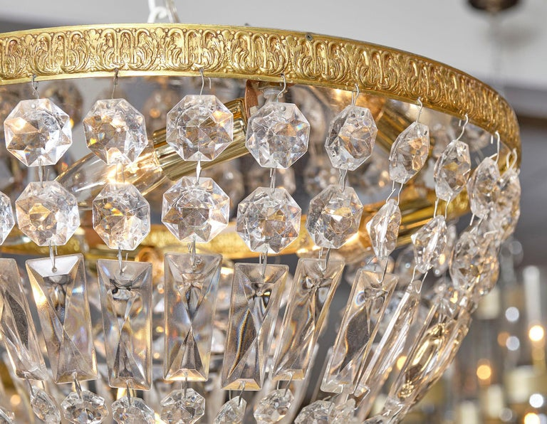 Mid-20th Century Pair of French Crystal Chandelier Flush Mounts For Sale