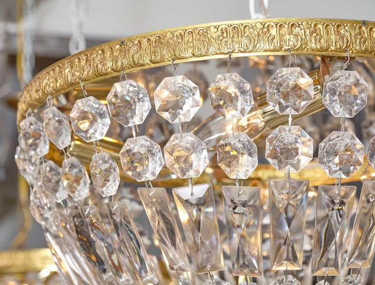 Pair of French Crystal Chandelier Flush Mounts For Sale 2