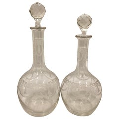 French Crystal Decanters with Engraved Bodies and Faceted Stoppers-Set of Two