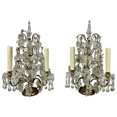 Pair of French Crystal Fruit Lights, circa 1900s