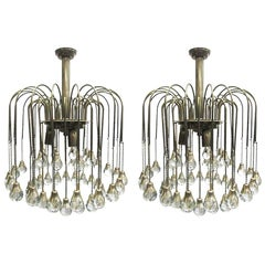 Pair of French Crystal Tear Drop Chandeliers