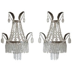 Pair of French Crystal two-Light Wall Sconces with Silvered Bronze Frame