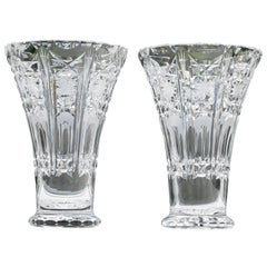 Pair of French Crystal Vases Attributed to Baccarat