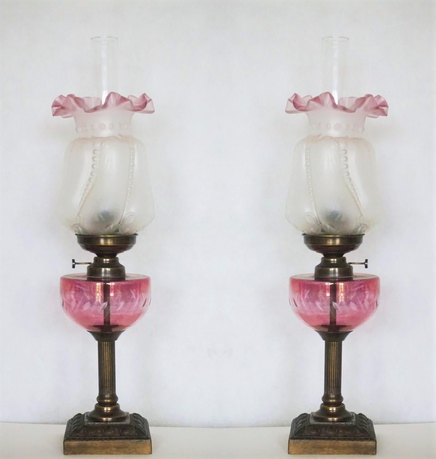 Pair of French Cut Glass Font Oil Lamp Converted to Electric Etched Glass Shades