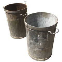 Pair of French Cylindrical Galvanized Zinc/Steel Planters with Handles