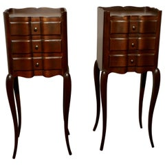 Pair of French Dark Walnut Bedside Cabinets with Drawers
