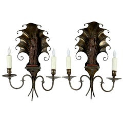 Pair of French Deco Bronze Wood Chinoiserie Sconces
