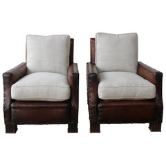 Pair of French Deco Leather Club Chairs, 1930s