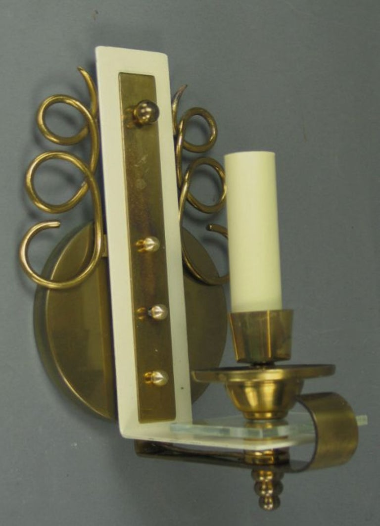 Pair of Jules Leleu Brass and Glass French  Sconces In Good Condition In Douglas Manor, NY
