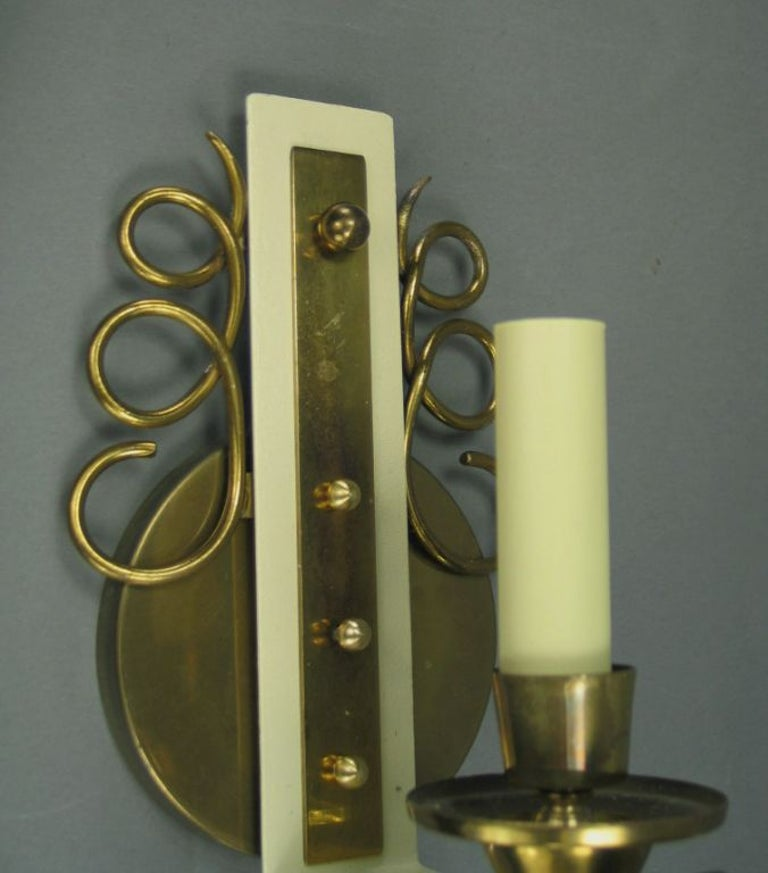 Mid-20th Century Pair of Jules Leleu Brass and Glass French  Sconces