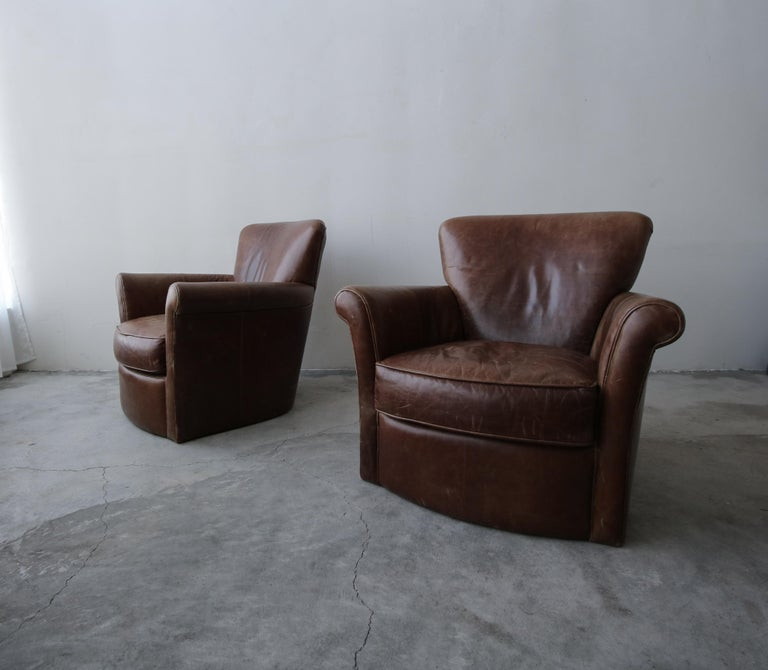 Art Deco Pair of French Deco Style Patinaed Leather Club Lounge Chairs For Sale