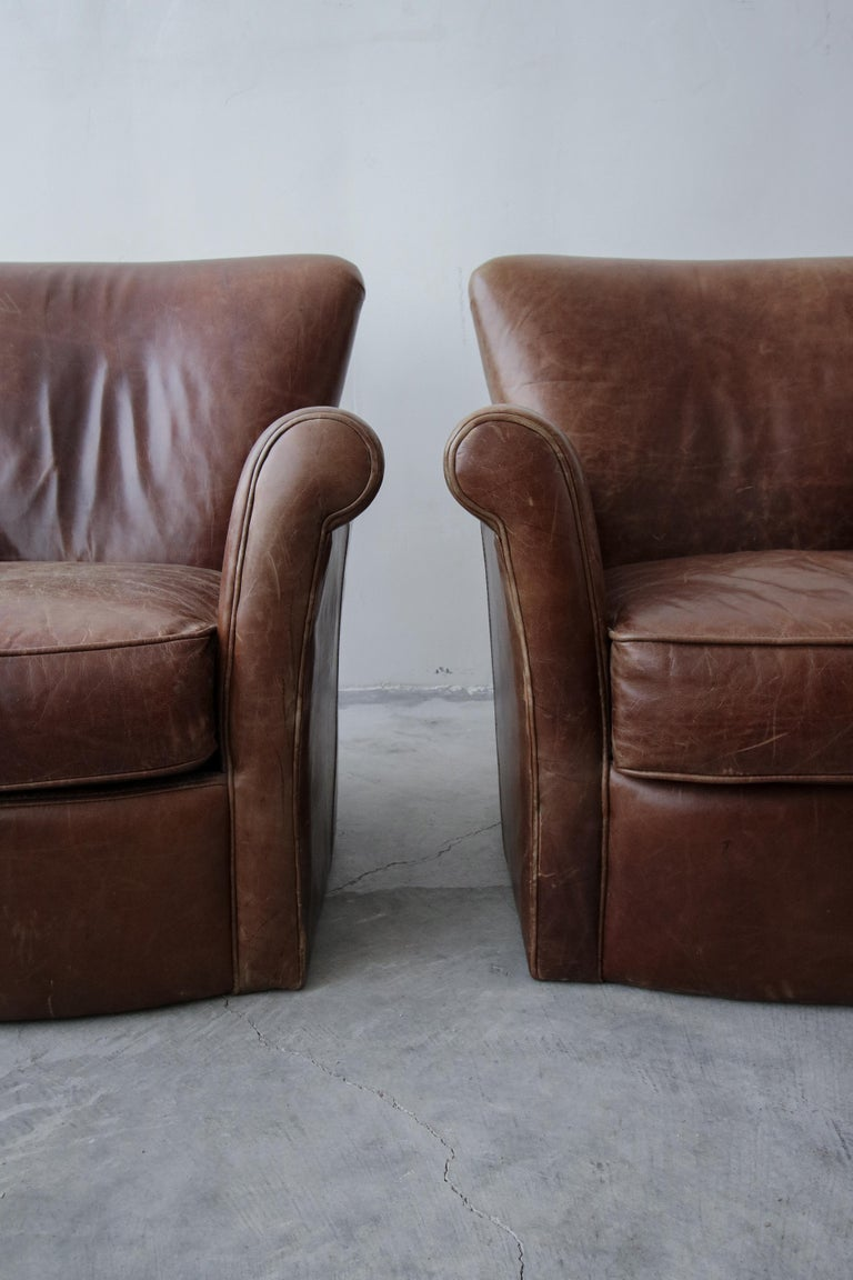 Pair of French Deco Style Patinaed Leather Club Lounge Chairs In Good Condition For Sale In Las Vegas, NV