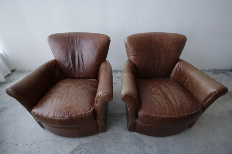 20th Century Pair of French Deco Style Patinaed Leather Club Lounge Chairs For Sale