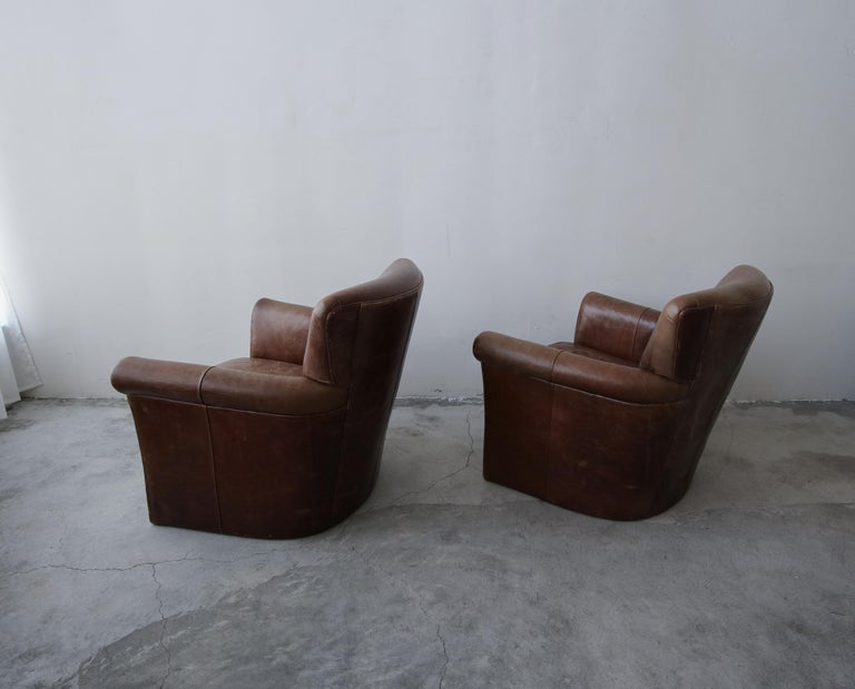 Pair of French Deco Style Patinaed Leather Club Lounge Chairs For Sale 1
