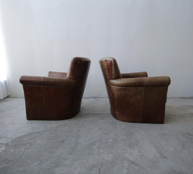 Pair of French Deco Style Patinaed Leather Club Lounge Chairs For Sale 2