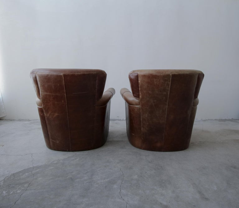 Pair of French Deco Style Patinaed Leather Club Lounge Chairs For Sale 3