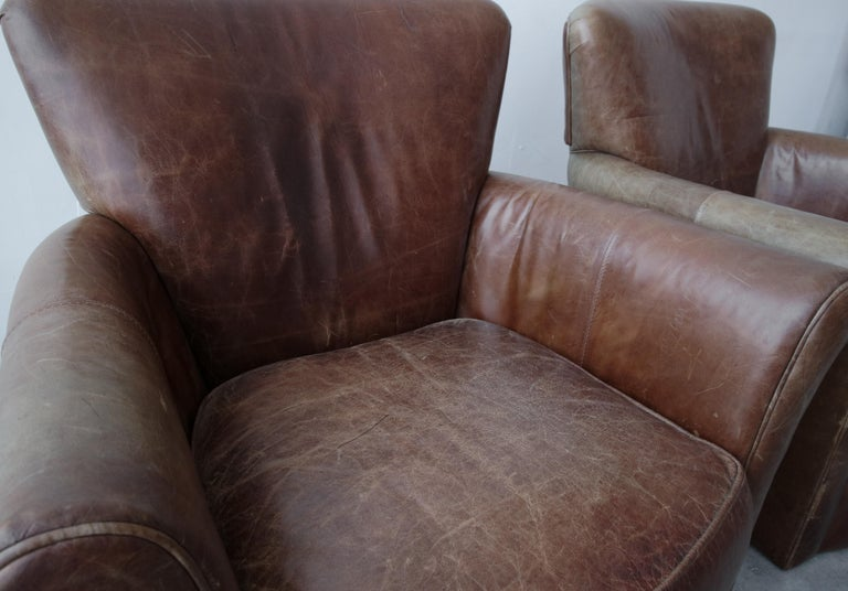 Pair of French Deco Style Patinaed Leather Club Lounge Chairs For Sale 4