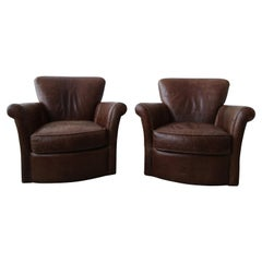 Pair of French Deco Style Patinaed Leather Club Lounge Chairs