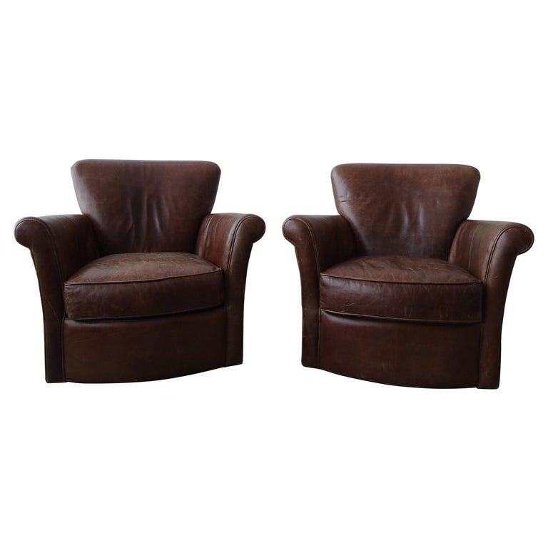 Pair of French Deco Style Patinaed Leather Club Lounge Chairs For Sale
