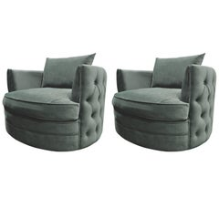 Pair Of French Design Emerald Green Velvet Large Armchairs
