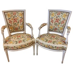 Pair of French Directoire Armchairs Fauteuils with Floral Needlework Upholstery