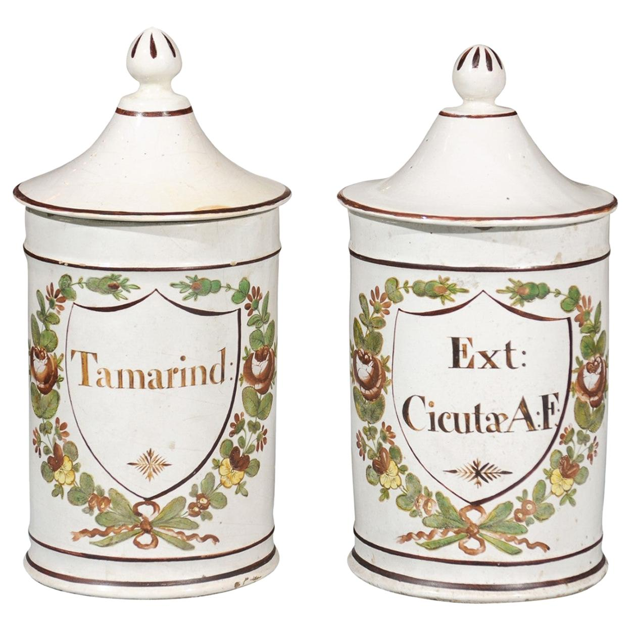 Pair of French Directoire Late 18th Century Lidded Apothecary Jars with Labels