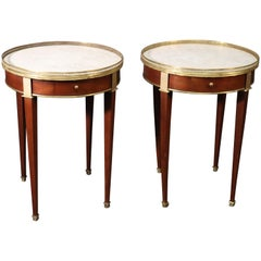 Pair of French Directoire Louis XVI Mahogany Marble Top Gueridons End Tables