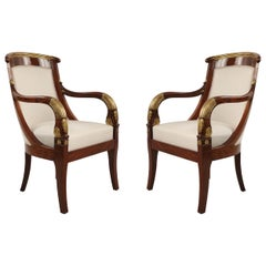 Pair of French Directoire Rosewood and Giltwood Beige Upholstered Armchairs