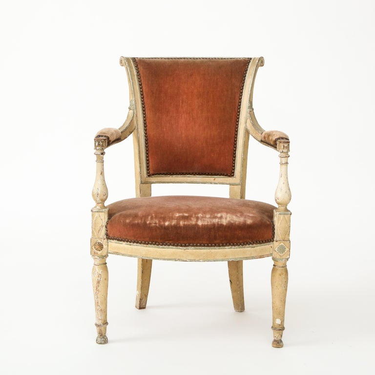 Hand-Painted Pair of French Directoire Style Armchairs For Sale