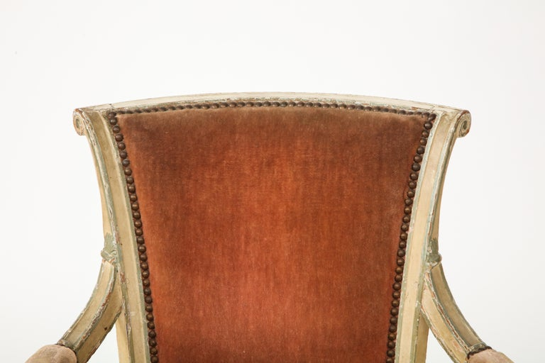 Velvet Pair of French Directoire Style Armchairs For Sale
