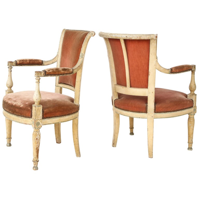 Pair of French Directoire Style Armchairs For Sale