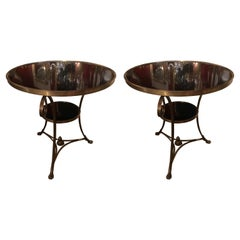 Pair of French Directoire Style Gueridon Side Tables with Black Marble