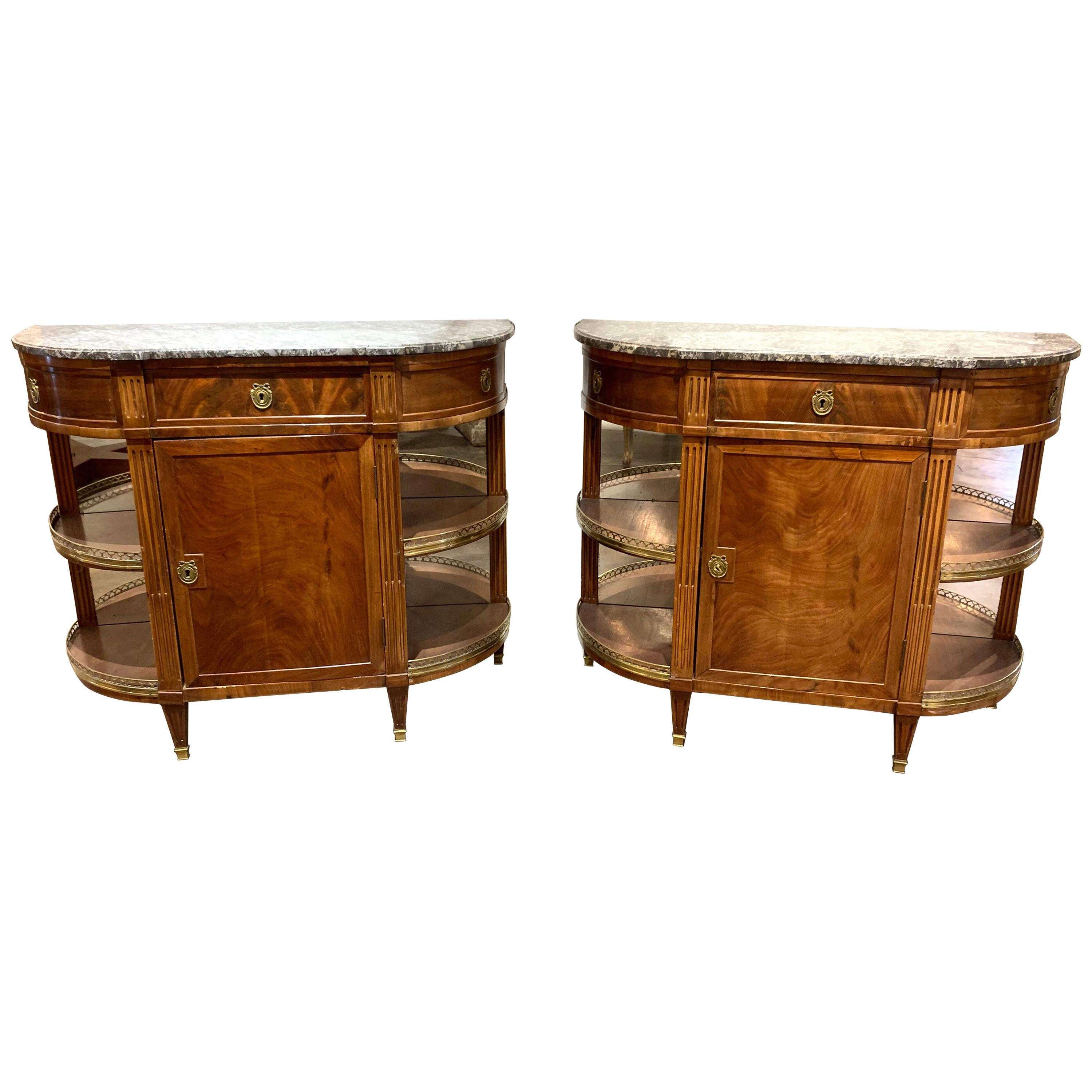 Pair of French Directoire Style Mahogany Servers with Marble Tops