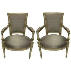 Pair of French Directoire Style Painted Armchairs