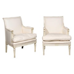 Pair of French Directoire Style Painted Bergère Chairs with Column Arm Supports