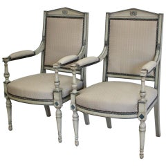 Pair of French Directoire Style Painted Fauteuils