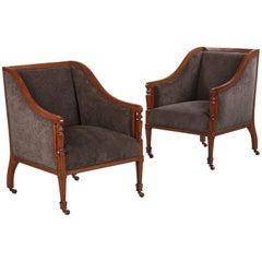 Pair of French Directoire Style Upholstered Armchairs in Mahogany, Late 1800s