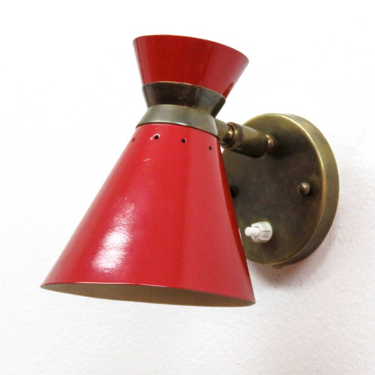 Mid-Century Modern Pair of French Double Cone Wall Lights, 1950 For Sale