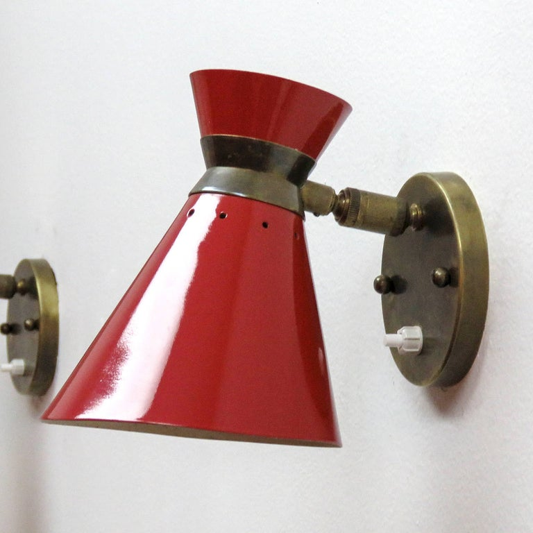 Enameled Pair of French Double Cone Wall Lights, 1950 For Sale