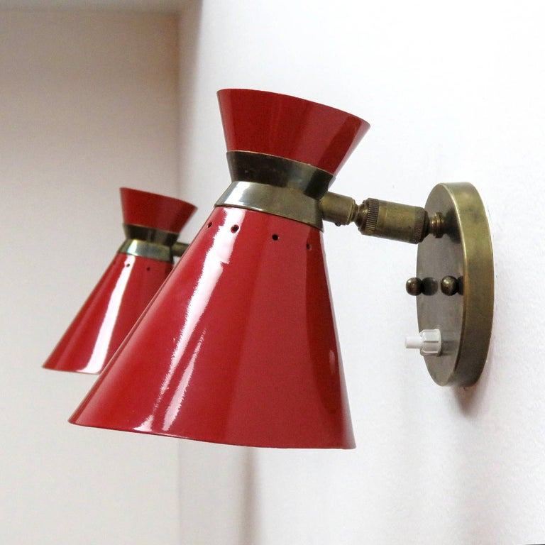 Pair of French Double Cone Wall Lights, 1950 In Good Condition For Sale In Los Angeles, CA