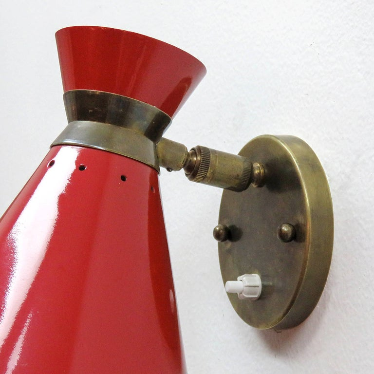Mid-20th Century Pair of French Double Cone Wall Lights, 1950 For Sale
